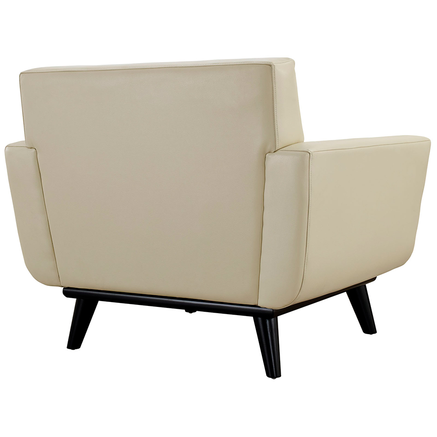 Empire Beige Bonded Leather Modern Lounge Chair - Back View