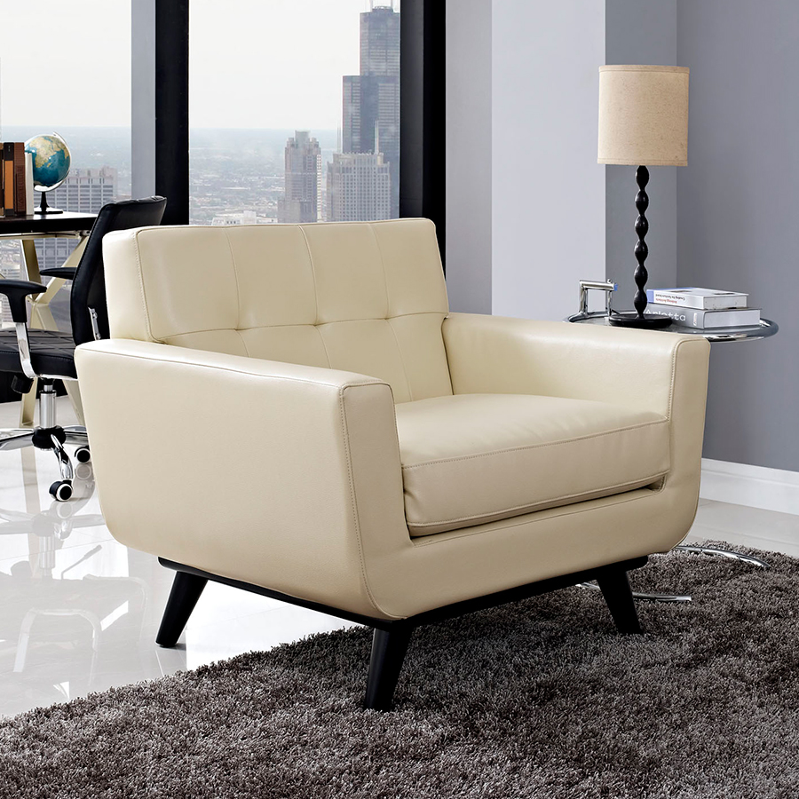 Empire Beige Bonded Leather Modern Chair