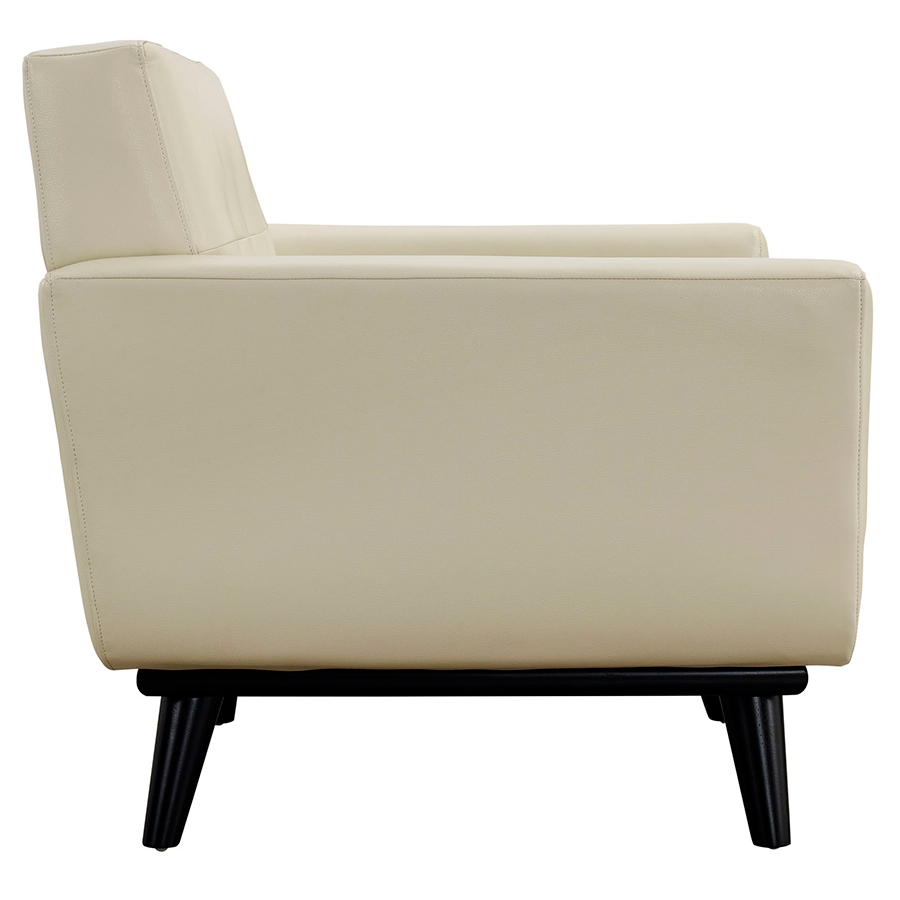 Empire Beige Bonded Leather Modern Lounge Chair - Side View