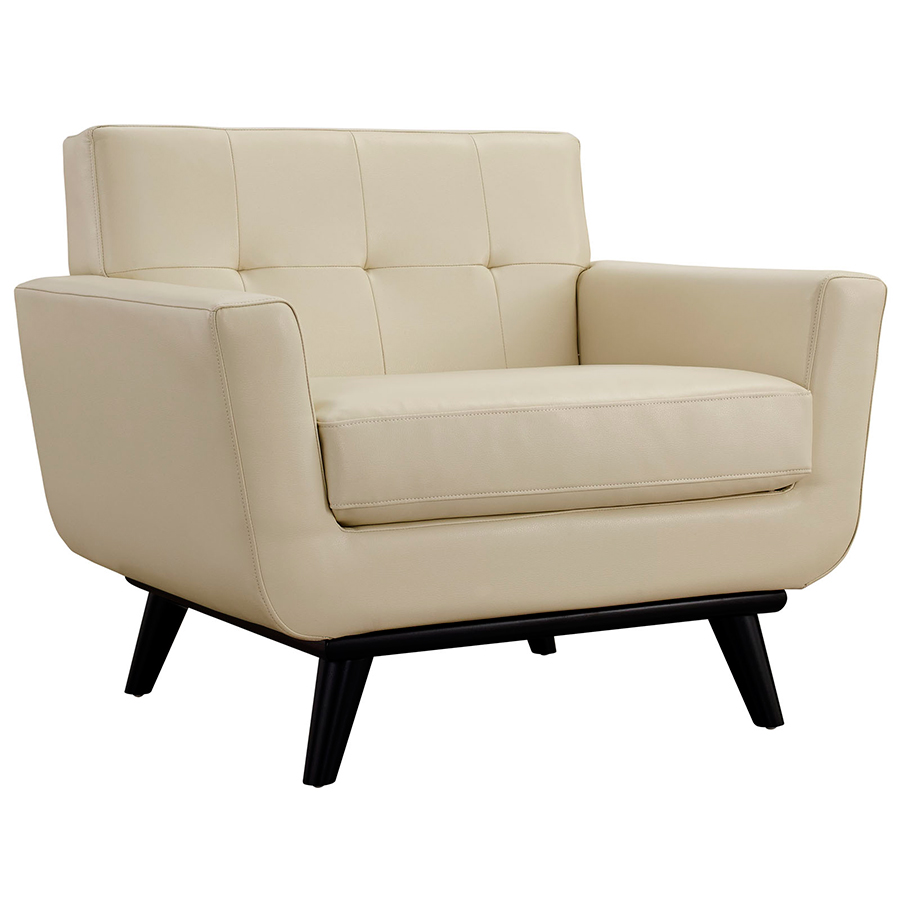 Empire Beige Bonded Leather Modern Lounge Chair