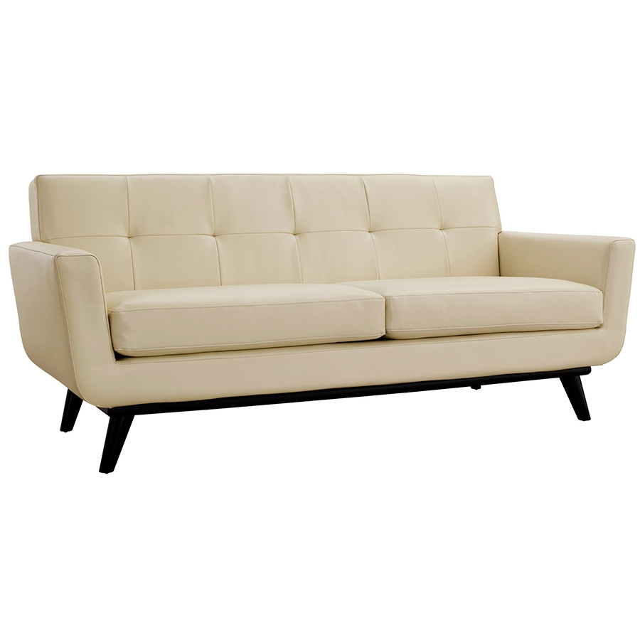 Empire Beige Leather Modern Loveseat