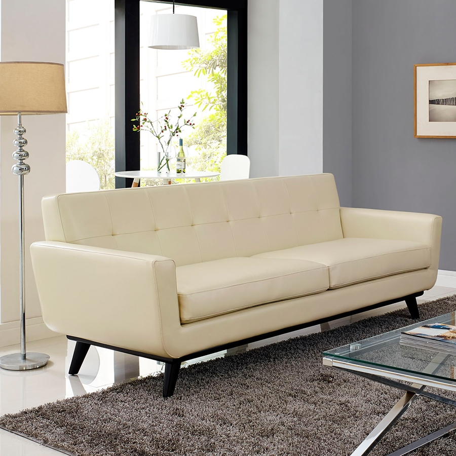 Empire Beige Leather Contemporary Sofa