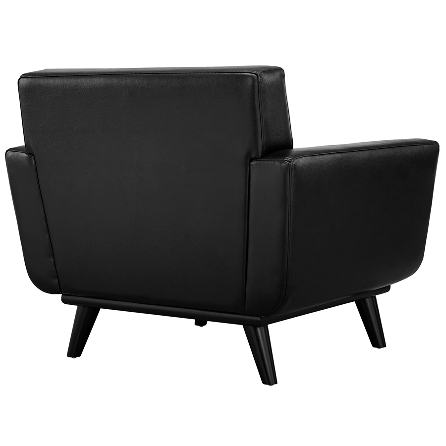 Empire Black Bonded Leather Modern Lounge Chair - Back View