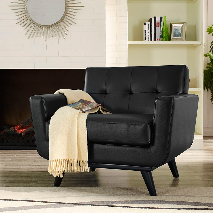 Empire Black Bonded Leather Modern Chair