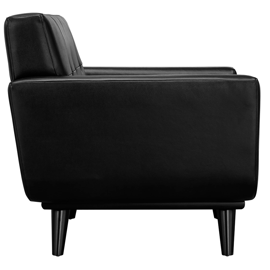 Empire Black Bonded Leather Modern Lounge Chair - Side View