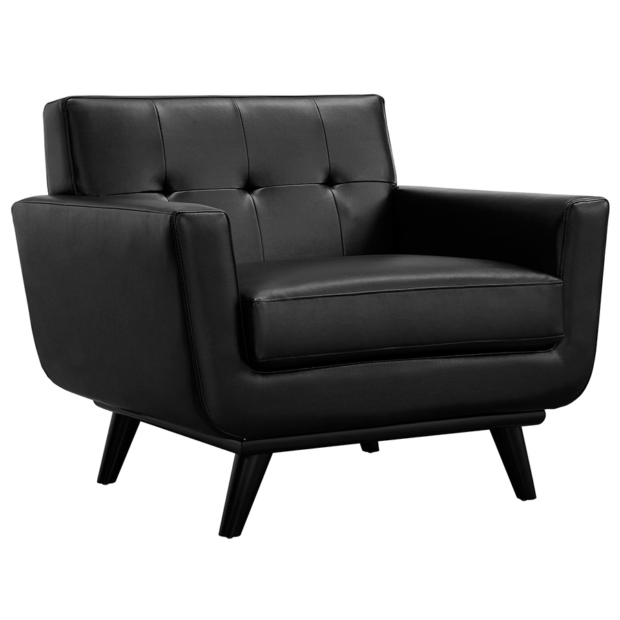 Black Leather Kitchen Chairs: Empire Modern Black Leather Chair