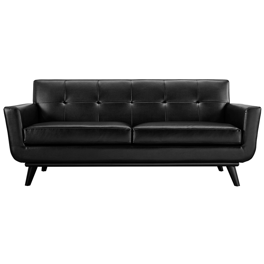 Empire Modern Black Leather Loveseat Eurway Furniture