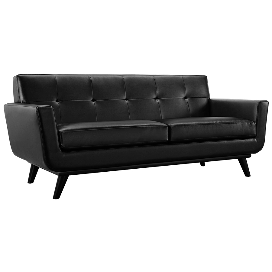 Empire Black Leather Modern Loveseat