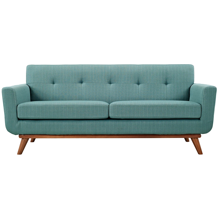 Empire Light Blue Modern Loveseat - Front View