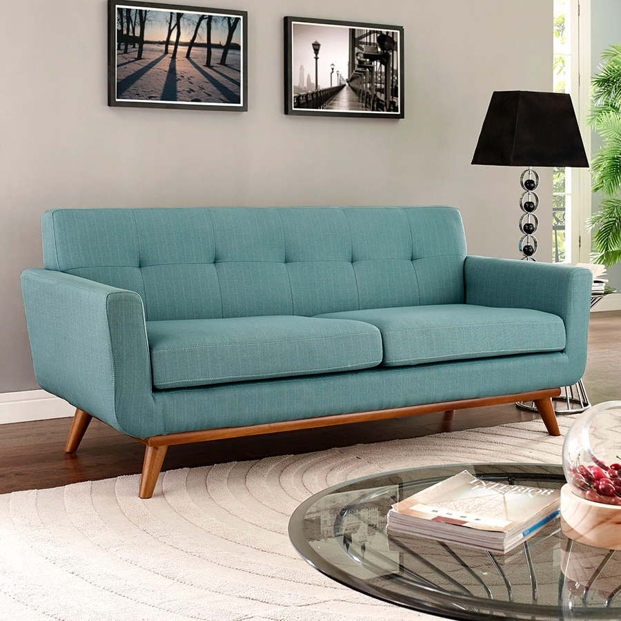 Empire Light Blue Contemporary Loveseat