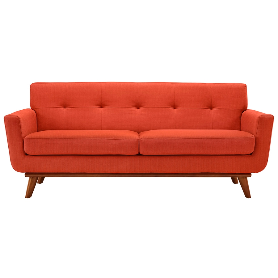 Empire Red Modern Loveseat - Front View