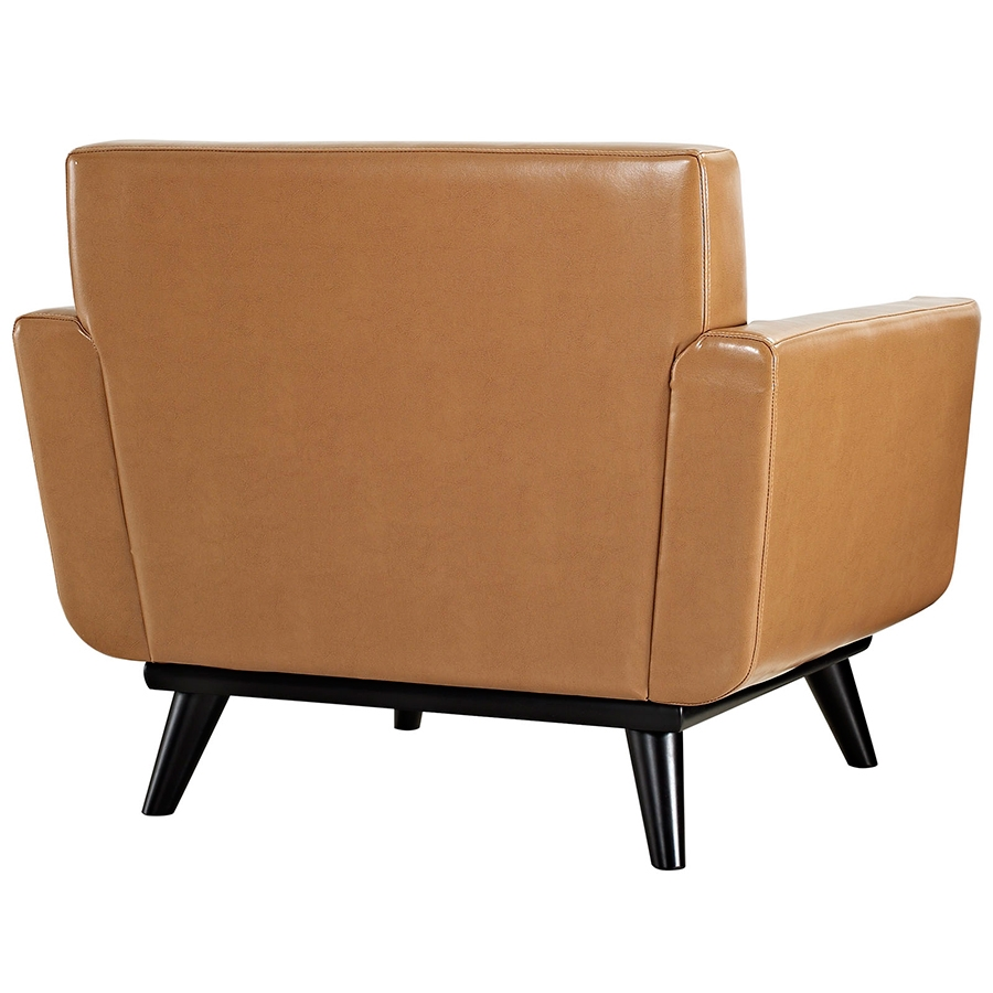 Empire Tan Bonded Leather Modern Lounge Chair - Back View