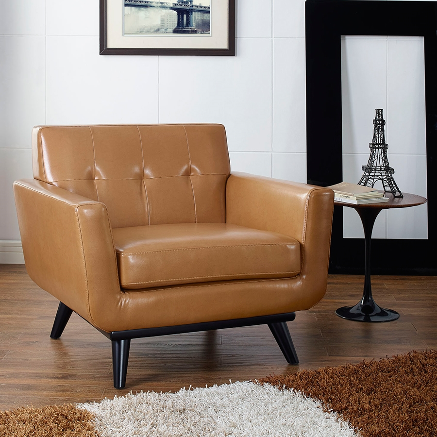 Empire Modern Tan Leather Chair Eurway Furniture