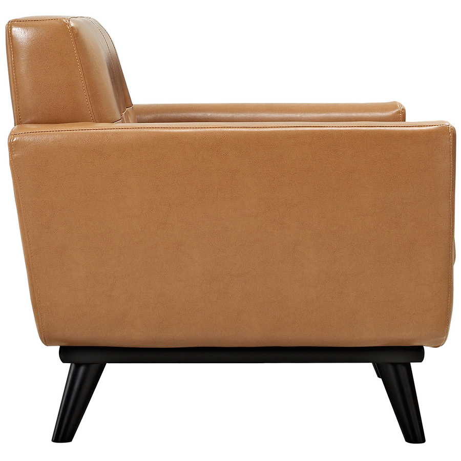 Empire Tan Bonded Leather Modern Lounge Chair - Side View