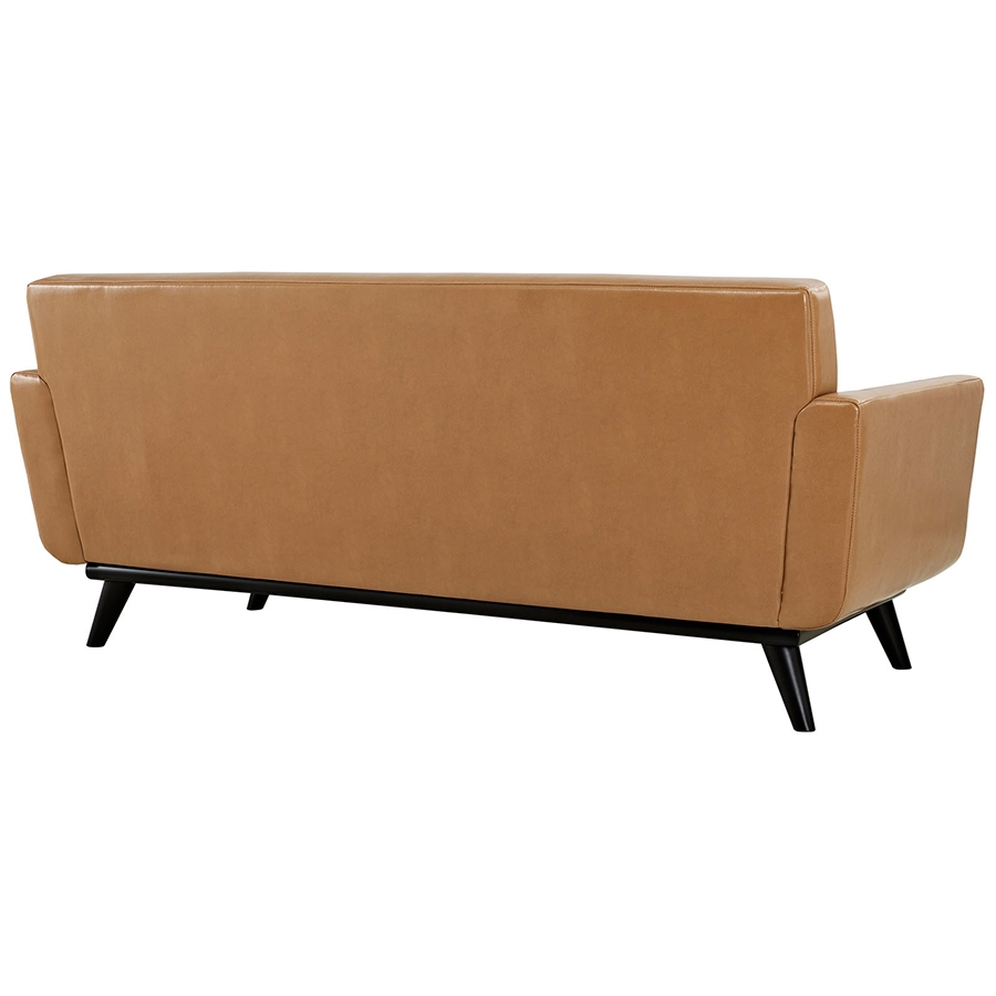 Empire Tan Leather Modern Loveseat - Back View