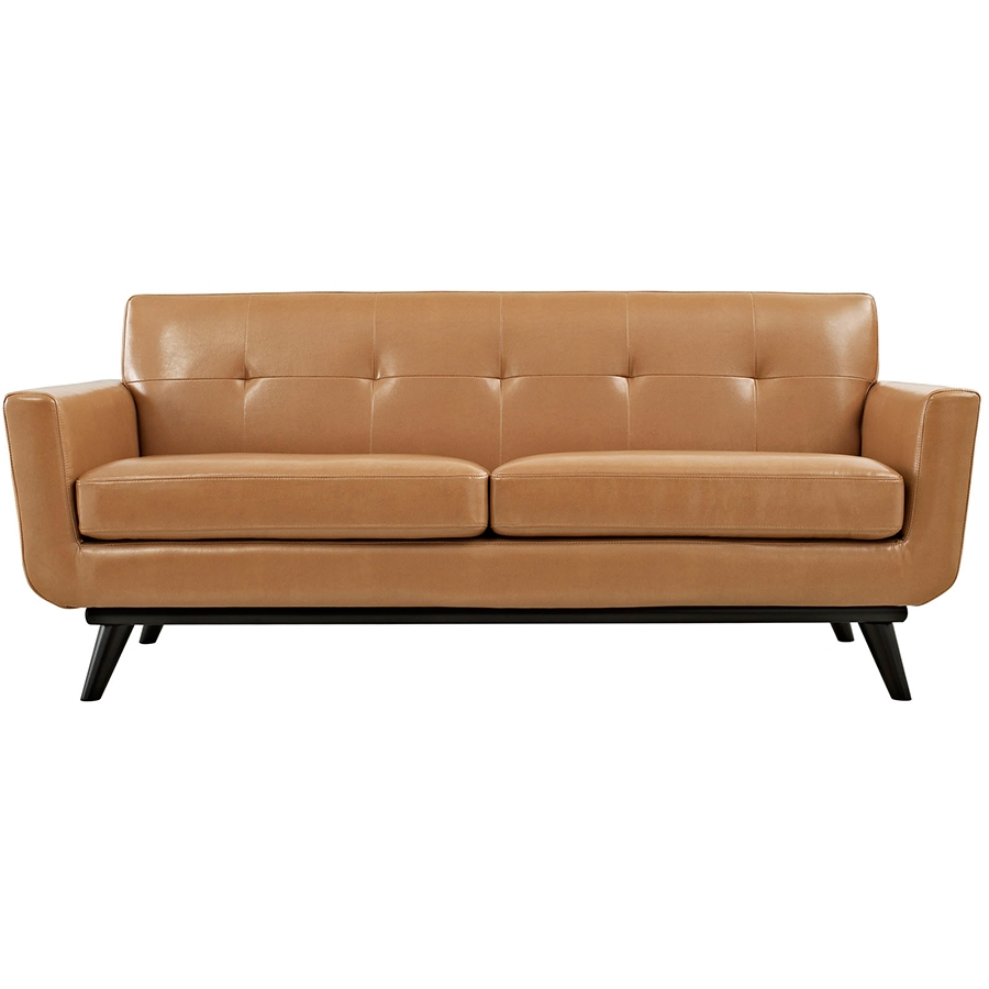 Empire Tan Leather Modern Loveseat - Front View