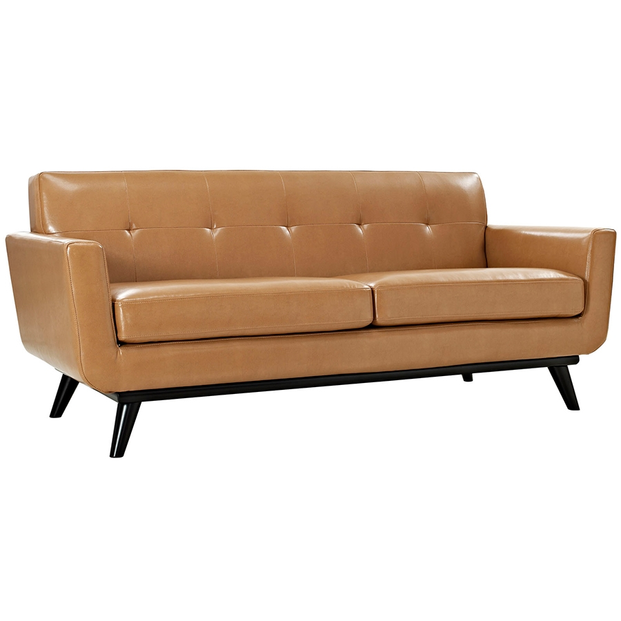 Empire Tan Leather Modern Loveseat