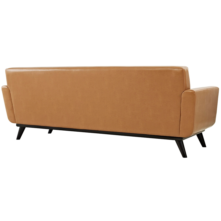 Empire Tan Leather Modern Sofa - Back View
