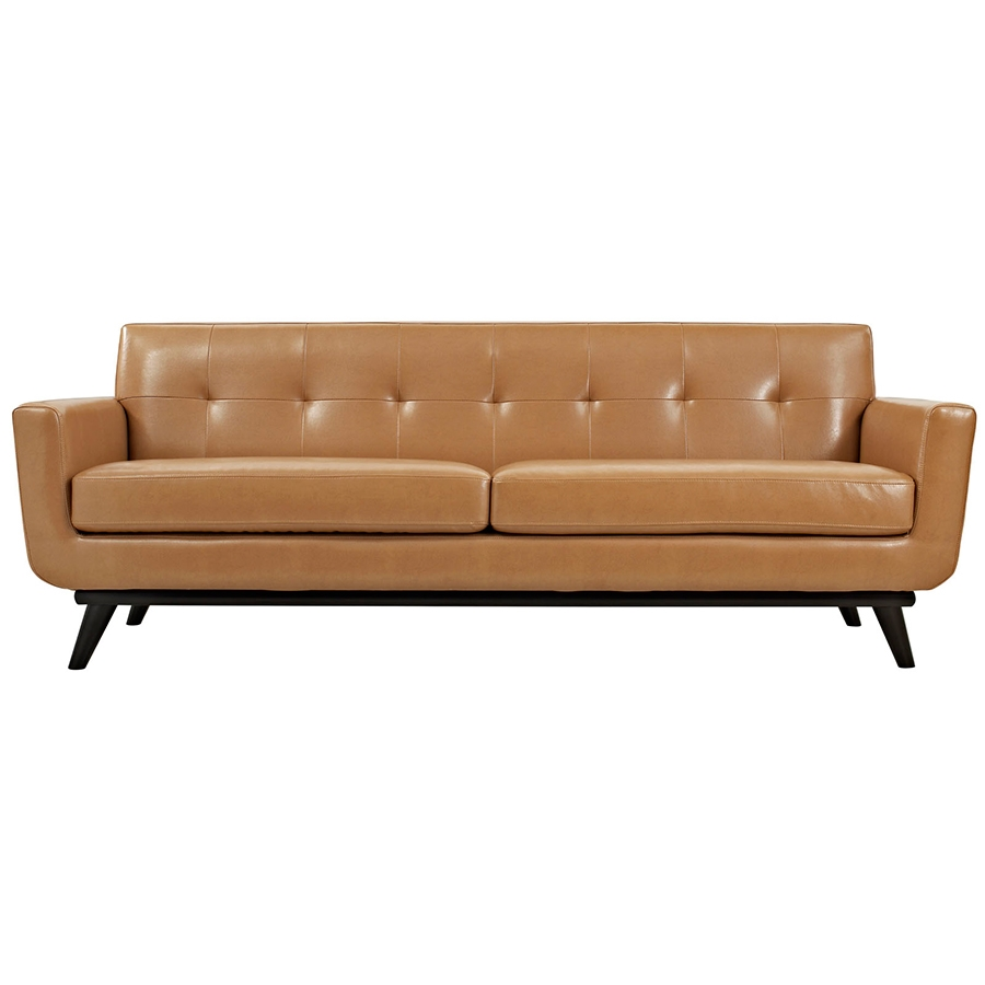 Empire Tan Leather Modern Sofa - Front View