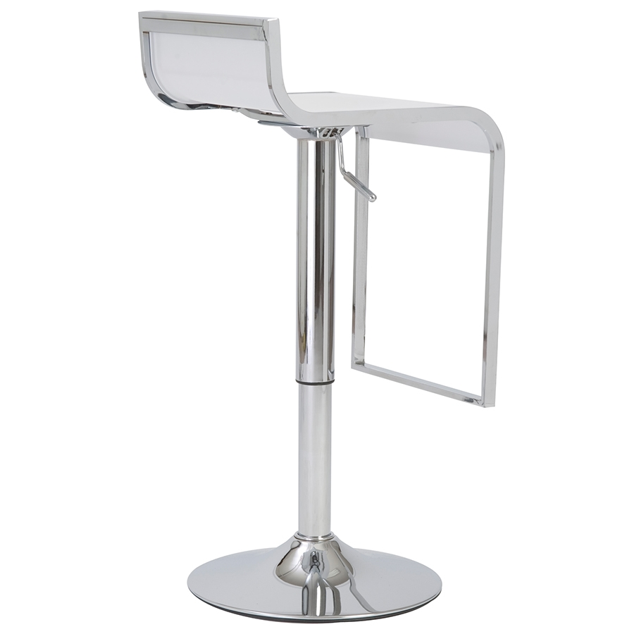 Foya Modern Adjustable Stool in White - Back View