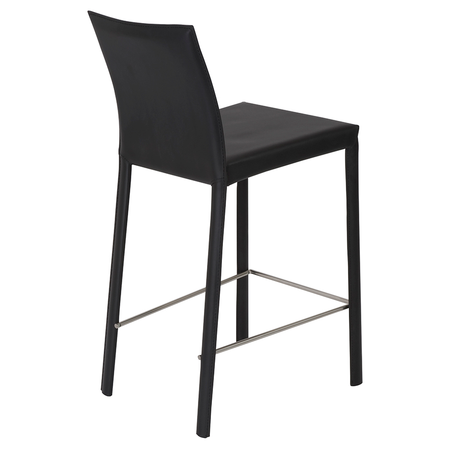 heather black modern counter stool - back view