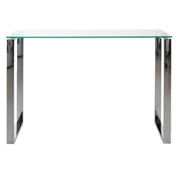 kat modern console table - glass and chrome