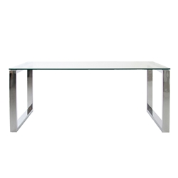 kat modern dining table in glass and chrome
