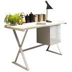 Kendall Modern White Desk with Drawers