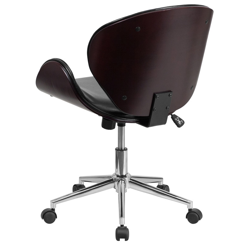 knox black leather mahogany bentwood office chair back view amy modern office chair