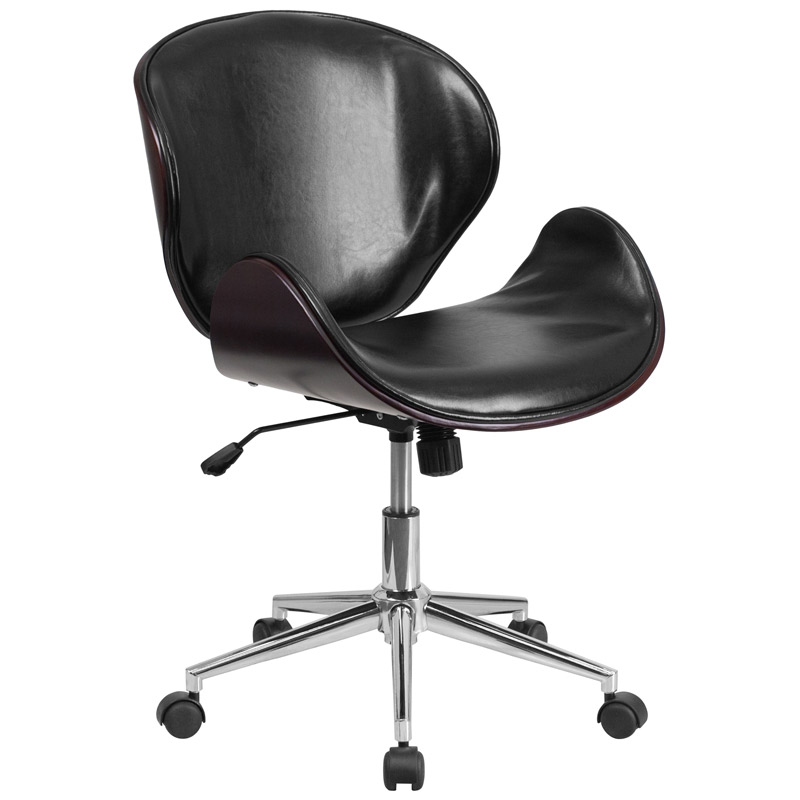 knox black leather mahogany bentwood office chair - Gray Leather Office Chair