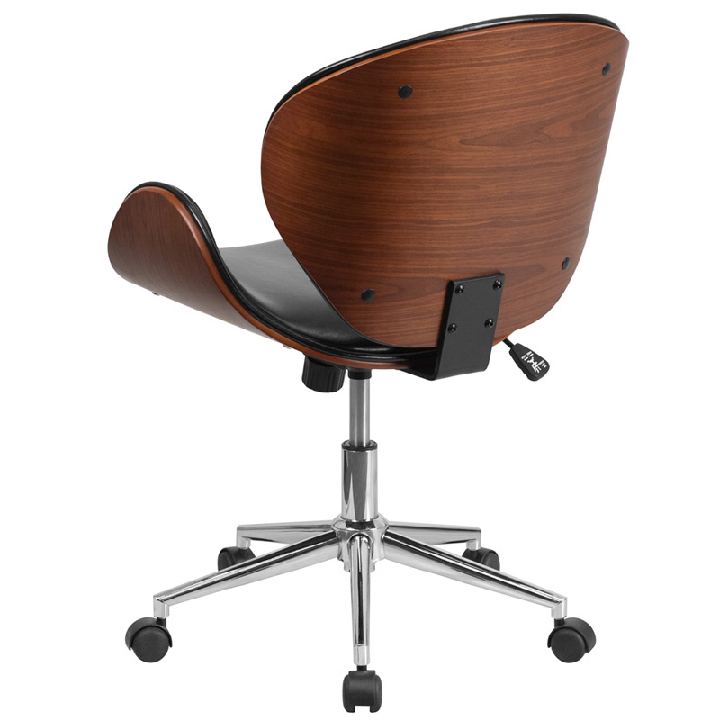 Knox Black Leather Walnut Bentwood Office Chair - Back View