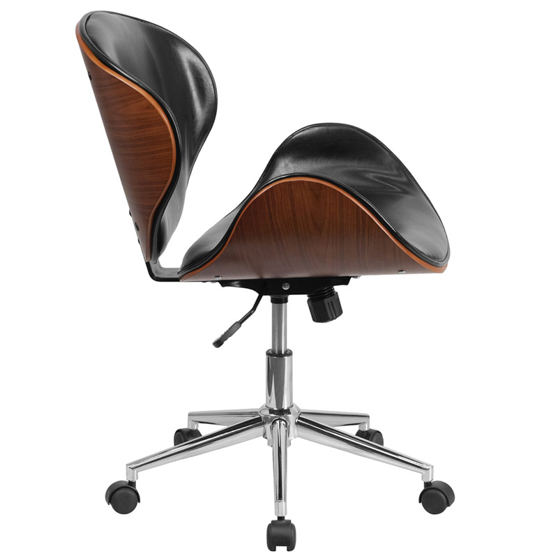Knox Black Leather Walnut Bentwood Office Chair - Side View