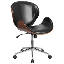 Knox Black Leather Walnut Bentwood Office Chair