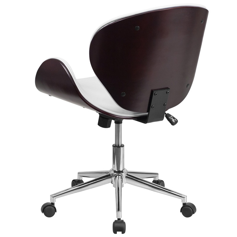 Knox White Leather Mahogany Bentwood Office Chair - Back View