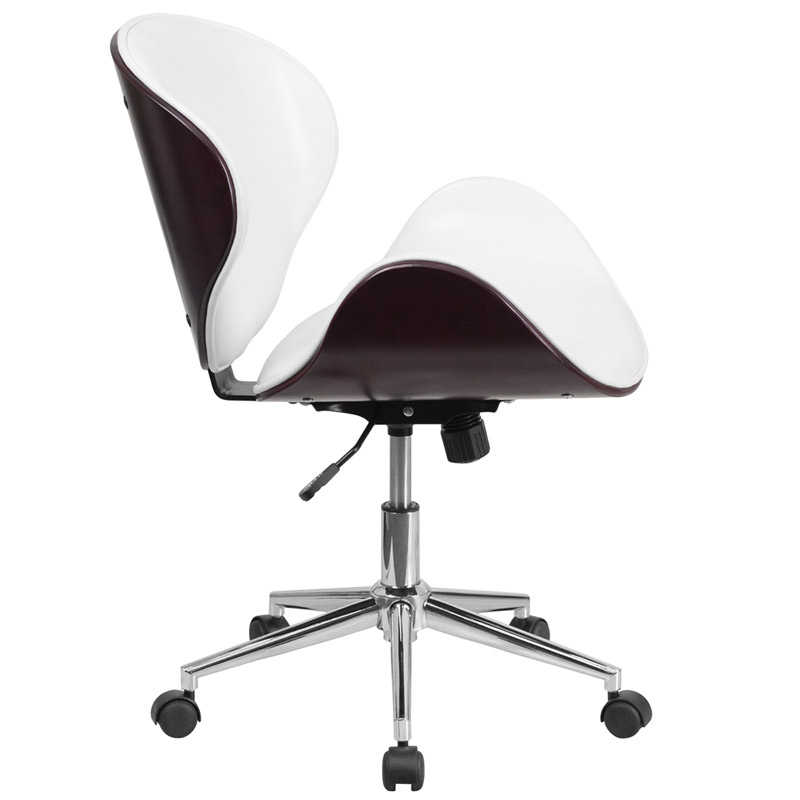 Knox White Leather Mahogany Bentwood Office Chair - Side View