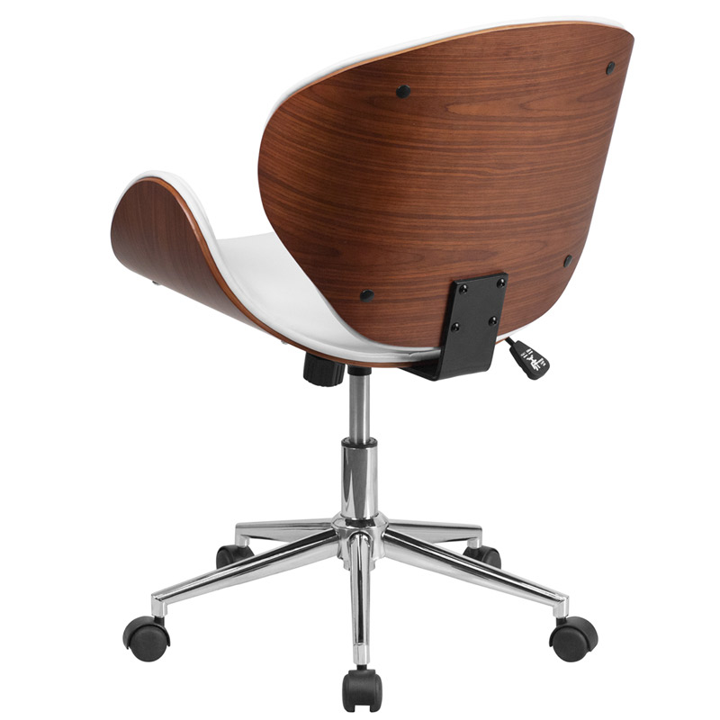 Knox White Leather Walnut Bentwood Office Chair - Back View