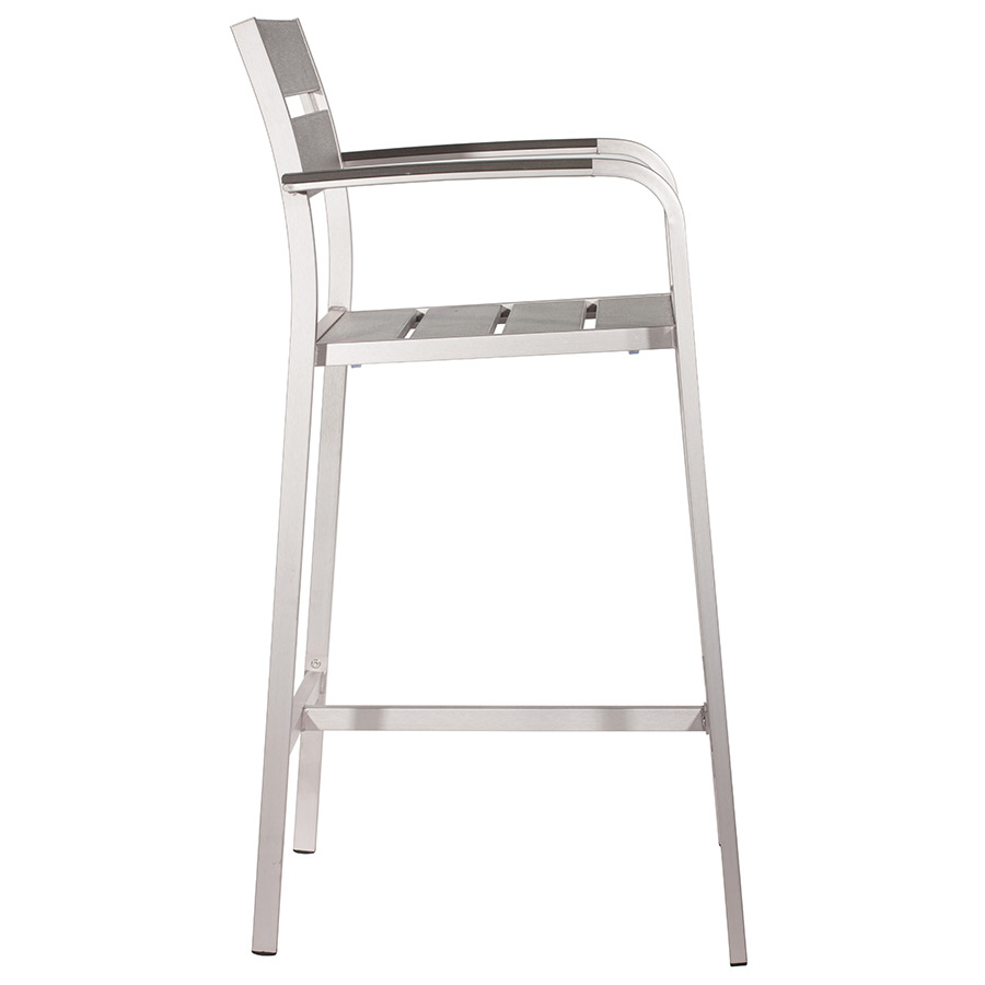 Martin Modern Outdoor Bar Stool with Arms - Side View