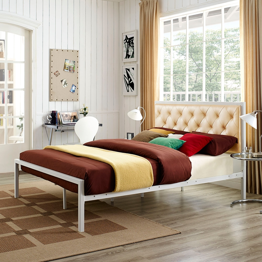 Myles Champagne Contemporary Platform Bed