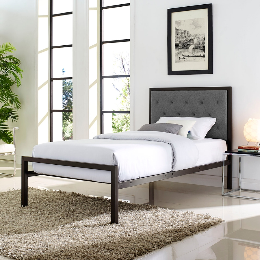 Myles Gray Contemporary Twin Bed