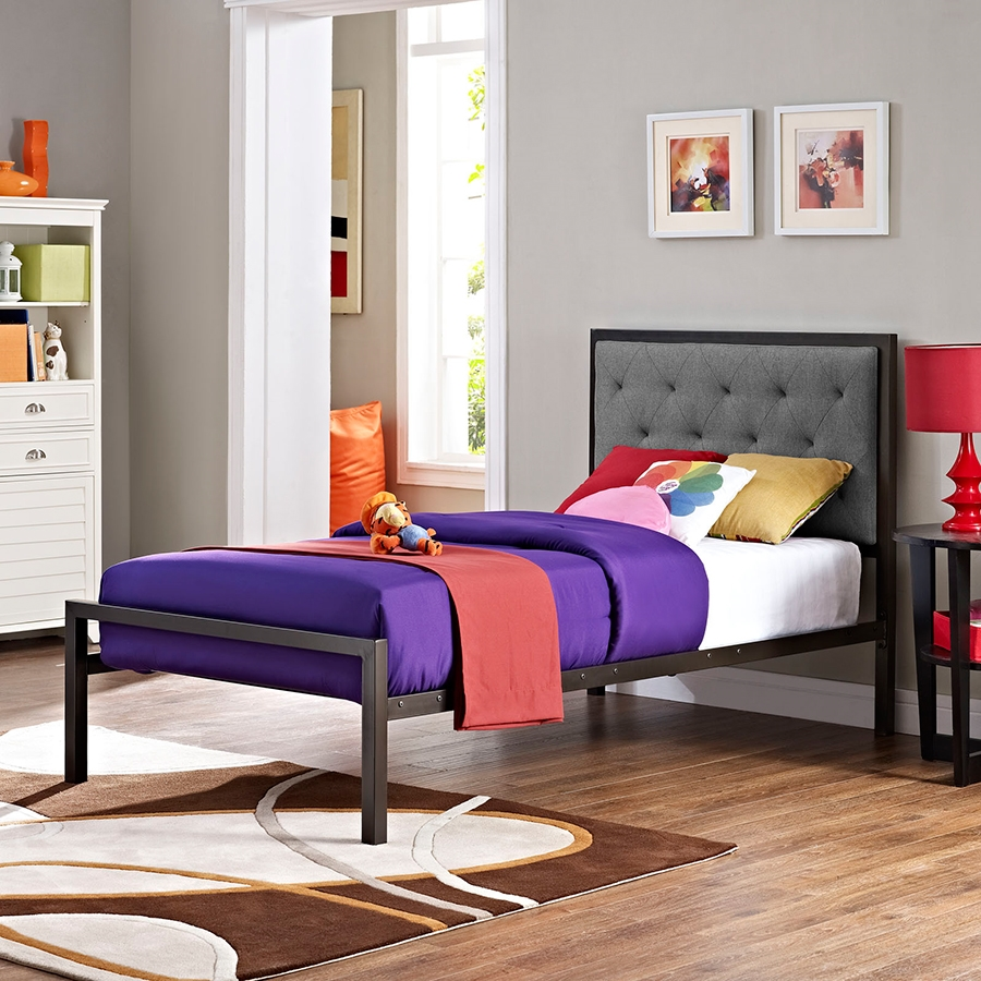 Myles Twin-Sized Gray Modern Bed