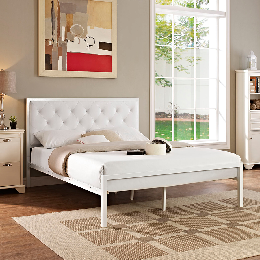 Myles White Contemporary Platform Bed
