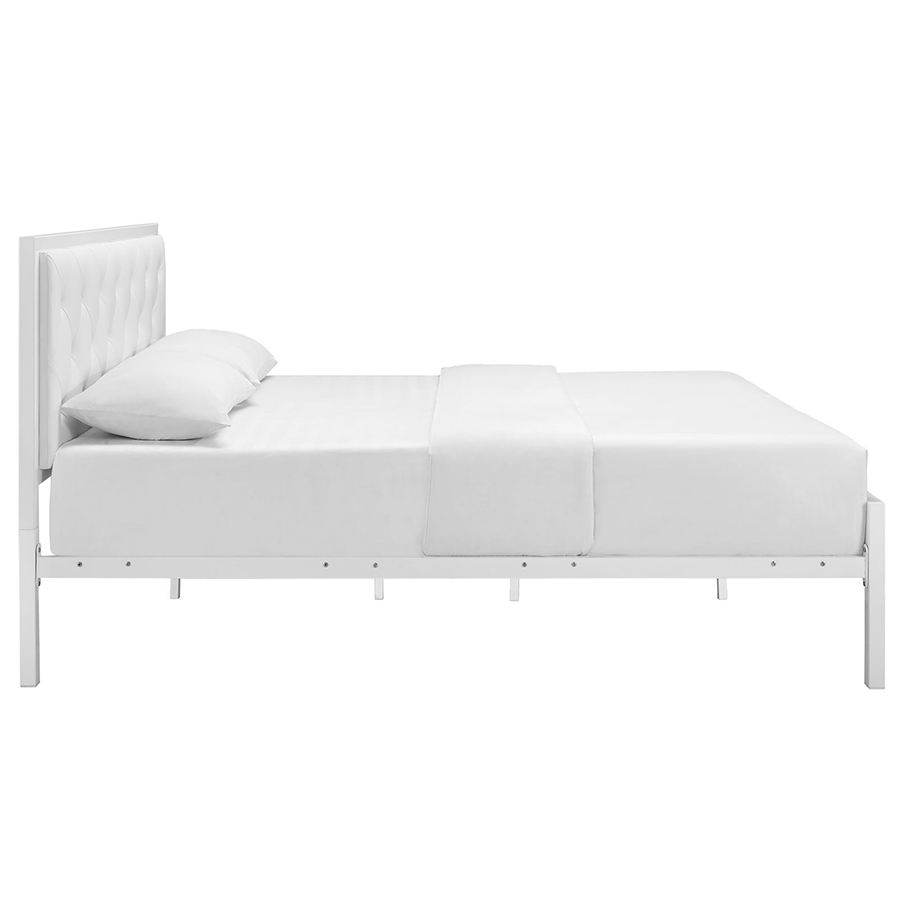 Myles White Modern Platform Bed - Side View