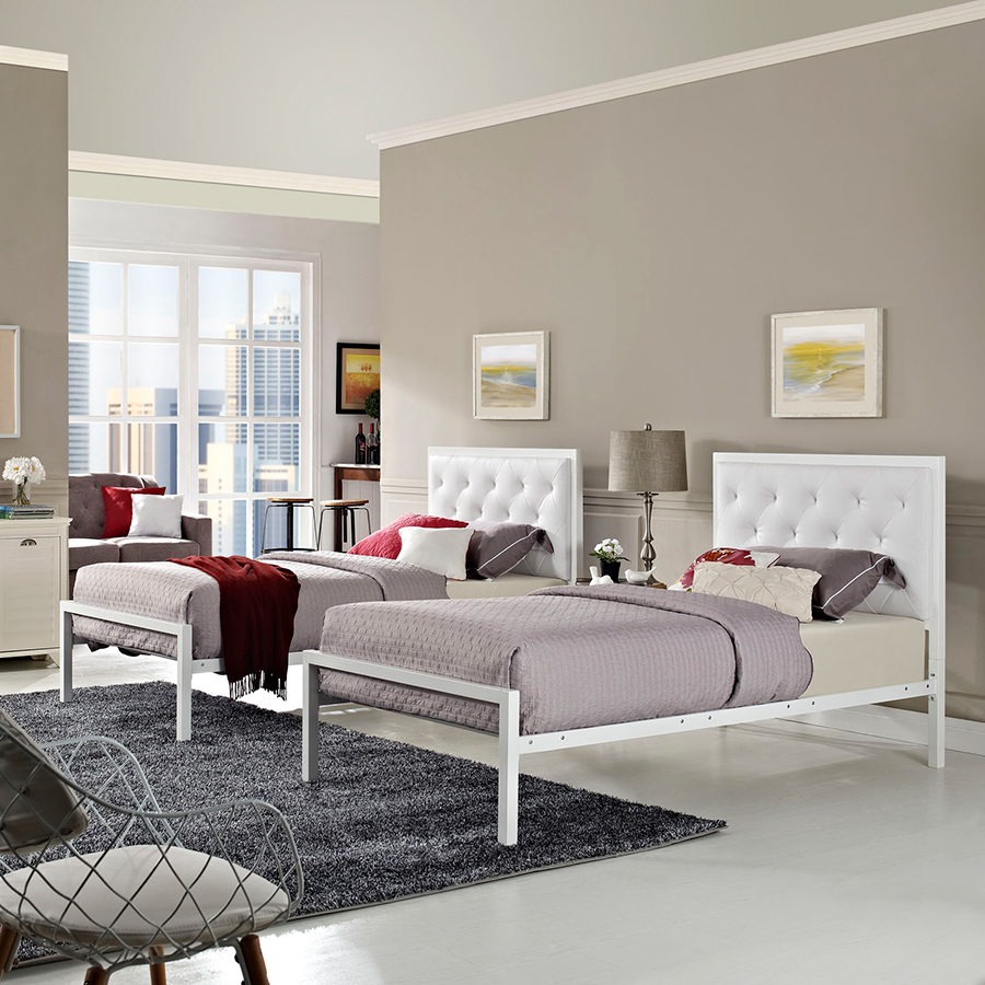 Myles Twin-Sized White Contemporary Bed
