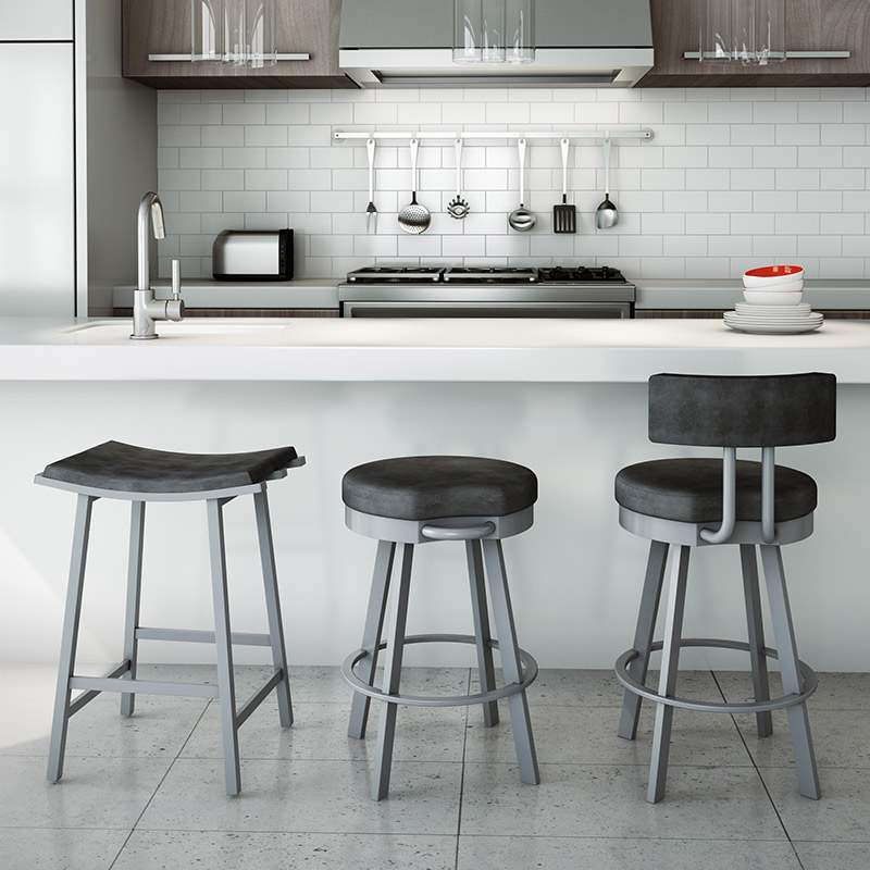 Novak, Blackburn + Bareli Counter Stools in Platina