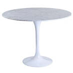 odyssey 36 inch modern round marble dining table - white