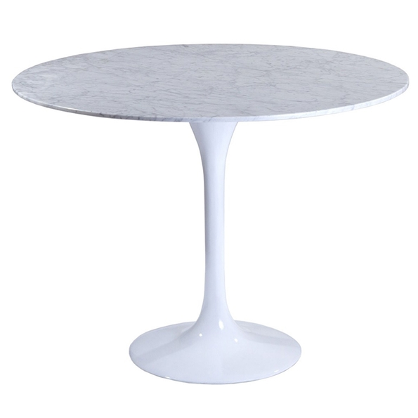 Odyssey 36 Inch Modern Round Marble Dining Table White
