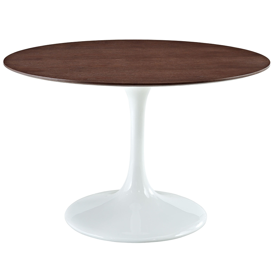 odyssey 47 inch modern round walnut dining table