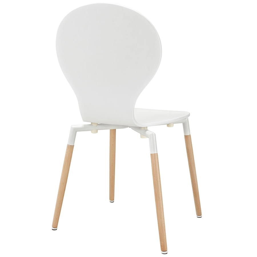 Portugal White Modern Dining Chair - Back View