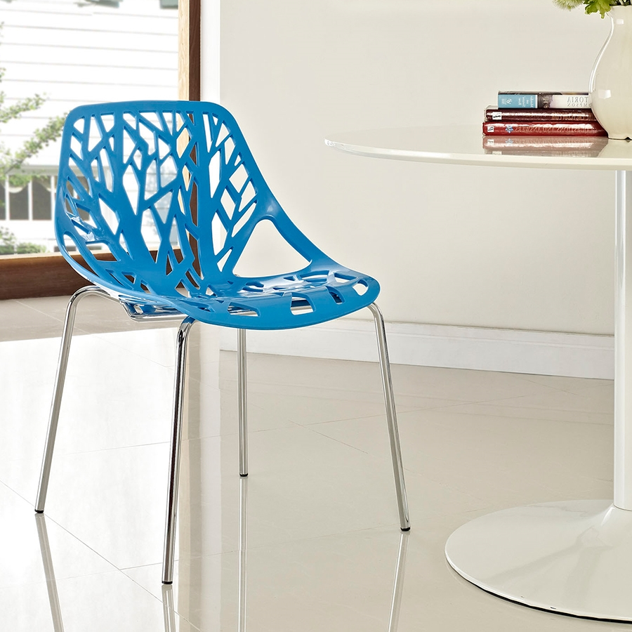 Sequoia Blue Contemporary White Dining Armchair