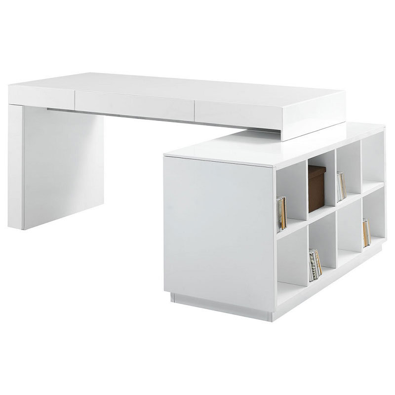 Sheldon Modern White Desk with Bookcase